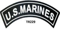 U.S. MARINES White on Black Top Rocker