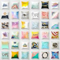 Polyester Art Mountain Pillow Case Sofa Waist Throw Cushion Cover Home Decor 18
