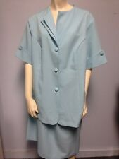 Roamans Size A 8 Light Blue Skirt Blouse/jacket Set 2 Pc Suit