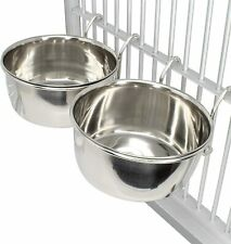 800115 Pk2 Stainless Steel 20 oz Cage Coop Hook Cup Bird Dog Food Water Bowl