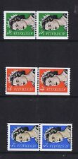 #040) Australian Decimal Coil Stamps QE11 3c Green, 4c Red and 5c Blue MNH Pairs