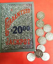 BUCKLEY GUARANTEED $20.00 JACKPOT SILVER GLITTER GLASS W/ 10 TOKENS SLOT MACHINE