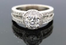 Womens 14k White Gold & Diamond Engagement Ring Size 6 3/4 6.7g W PAPERS #31392B