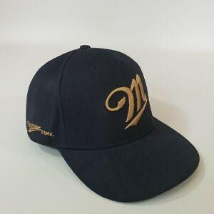 Miller Beer Black Snap Back Cap Hat Gold Embroidered Logo Its Miller Time NANA