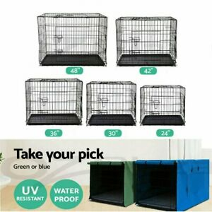 """24"""" 30"""" 36"""" 42"""" 48"""" Pet Dog Cage Waterproof Cover Collapsible Crate Kennel"""