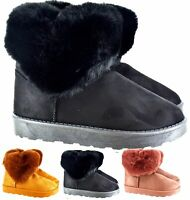 WOMENS LADIES WARM WINTER SNUGG HUG ANKLE FAUX FUR LINED ANKLE BOOTS SIZE 3-8