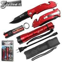 Red Striker Knife Stun Gun Pepper Spray Self Defense Kit Men Women