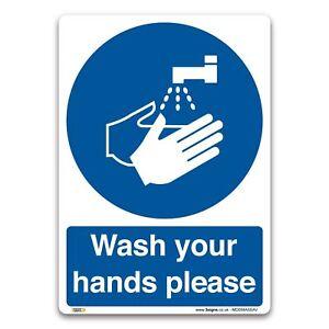 Wash your hands please Sign - Vinyl Sticker - Mandatory Information Safety
