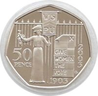 2003 Womens Vote Suffragettes 100th Anniversary 50p Fifty Pence Proof Coin