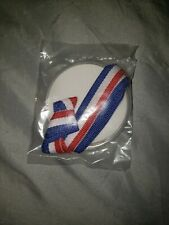 Patriotic Plastic Olympic Medal With Red White And Blue Lace Necklace