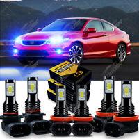 For Honda Accord 2013 2014 2015 LED Headlight High /Low Beam+Fog Light Kit 8000K