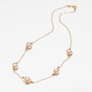 """Handmade!8-9mm Akoya Saltwater Pearl Necklace 14K Yellow Gold Filled Chain 18.3"""""""