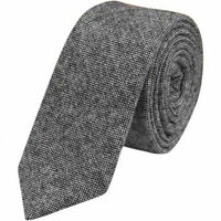 Charcoal Gray Mens Tweed / Wool Skinny Tie. Excellent Quality & Reviews.