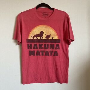 Vintage Disney T Shirt The Lion King Hakuna Matata Small Red Distressed Simba