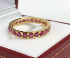 14k Solid Yellow Gold Eternity Ring Natural Ruby. Sz 8. 2.60 Grams