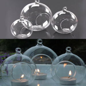 6-36X Clear Glass Ball Fillable Bauble Hanging/Table LED Candle Tea Light Holder