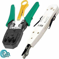 RJ45 Cat5e Cat6 Ethernet Network LAN Cable Crimper Stripper Punch Down Tool Kit