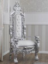 Trône Lion style Baroque Moderne fauteuil royal feuille argent similicuir blanc