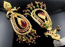 22 CARAT YELLOW GOLD LONG EARRINGS DANGLING chandeliers Ruby Pearl Emerald IND