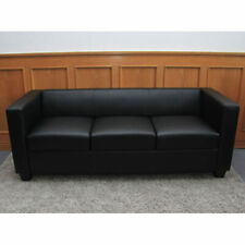 3er Sofa Lille, Couch Loungesofa, Leder schwarz