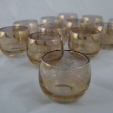 12 Small Gold Speckled Roly Poly Cocktail Glasses Style of Dorothy Thorpe MCM