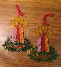 """Lot of 2 Vintage Christmas Candle Window Suncatchers Plastic Stained Glass 9"""""""