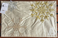 "2x Modern Double Layer Doilies, Embroidery Snow Flake, 30x48cm (12""x18"") FFD030"