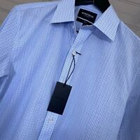 Bonobos Wrinkle Free Slim Fit Blue Plaid Dress Shirt Men's Size M 15.5