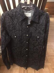 Ryan Michael Western Men Indigo  Cotton  Pearl Snap Down Shirt Size L