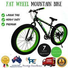 Fat Wheel Mountain Bike Heavy Duty Large Bicycle 7 Speed Disk Brakes With Shocks