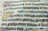 c1480 Latin decorated medieval manuscript 5 GOLD caps Book of hours psalm RARE