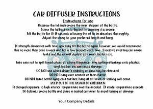 Car Diffuser Air Freshener Care Cards