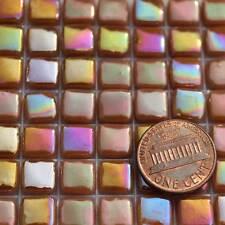 8mm Mosaic Glass Tiles - 2 Ounces About 87 Tiles - Iridescent Sienna