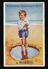 Dorset WEYMOUTH Boy on Beach Comic 1924 PPC