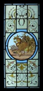 Rare English Painted Fruit Victorian Stained Glass Window