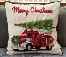 "20""x20"" Red Truck Christmas Tree Fire Engine Pillow Embroidered Beaded Velvet"