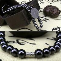 Schwarz Magnetische Halskette Perlen Hämatit Stein Abnehmen Health Therapie O3Z1