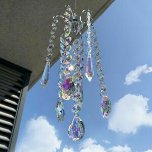 Crystal Prisms Wind Chimes Hanging Chandelier Chimes Home Hanging Decoration  ba