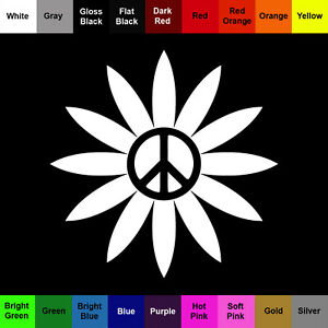 Peace Daisy Decal - Buy 1 Get 1 Free - Flower Sticker - BOGO
