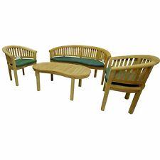BANANA SNUGGLE TEAK WOOD BENCH CHAIR & TABLE SEAT SET GARDEN CLICK + COLLECT