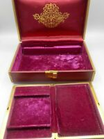 Mid Century Farrington Burgundy Leather Clad Jewelry Box Travel Case Insert