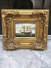 Antique Signed U. Becker Nautical Sailing Ship Oil Painting In Large Gold Frame