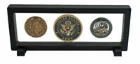 Floating FrameShadow Box display case for Challenge Coins, Medals, Pens - Black