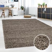 Teppich-Shaggy-, Flauschiger Hochflor Wohn-Teppich, Einfarbig Mocca Wohnzimmer
