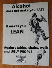 Vintage Alcohol does not make you fat metal wall sign lightweight easy hung