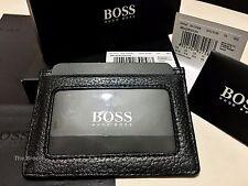 HUGO BOSS '50179306' 'BRADENTON' GRAINED PEBBLED LEATHER CARD HOLDER BOSS BLACK