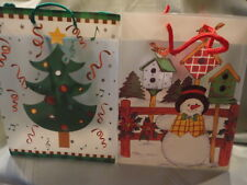 14 Gift Bags Snowman Christmas Tree Frosted Plastic 9t x 7L x 4w New
