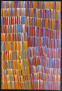 Jeannie Mills Pwerle, Authentic Aboriginal Art.  Size 90cm x 60cm, 'Bush Yam',