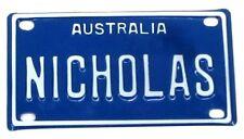 NICHOLAS  NOVELTY NAME MINI TIN AUSTRALIAN LICENSE NUMBER PLATE