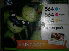 Genuine HP 564 Combo-Pack Cyan Magenta Yellow + Photo Paper B3B33FN Exp:10/16